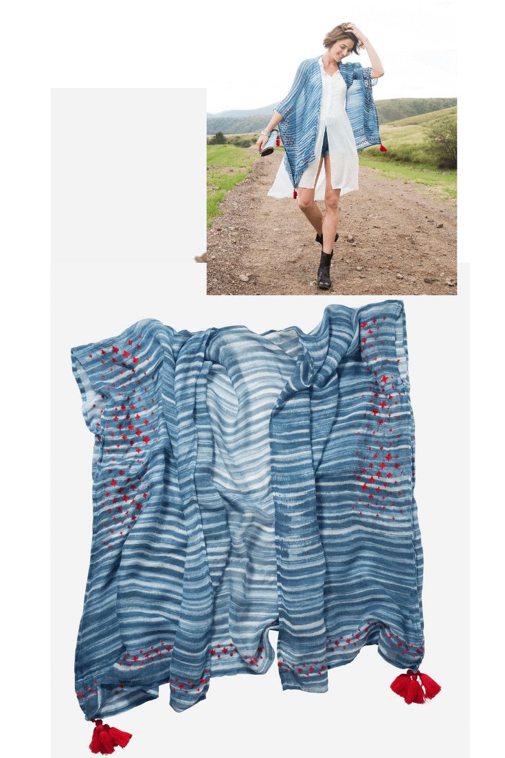 17c52e355cede The Striped Indigo Shawl is a shibori-inspired shawl featuring a fresh and  fun indigo hue with hand-embroidered detailing. This rayon scarf is made  with ...